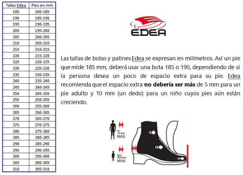 Tabla de tallas Edea y su equivalencia en milímetros